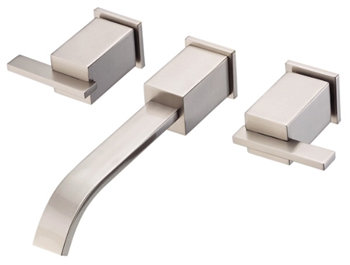 Danze D316244BN Sirius Two Handle Wall Mount Lavatory Faucet Brushed Nickel