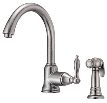 Danze D401540DN Fairmont Single Handle Kitchen Faucet with Matching Spray Distressed Nickel