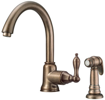 Danze D401540RBD Fairmont Single Handle Kitchen Faucet with Matching Spray Distressed Bronze