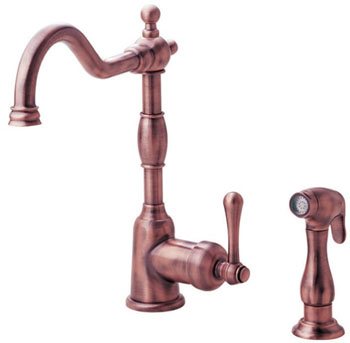 Danze D401557AC Opulence Single Handle Kitchen Faucet with Sidespray Antique Copper