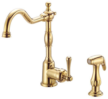 Danze D401557PBV Opulence Single Handle Kitchen Faucet with Sidespray Polished Bronze