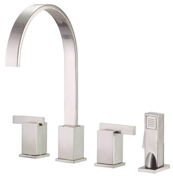 Danze D422044SS Sirius Two Handle Kitchen Faucet with Sidespray Stainless Steel