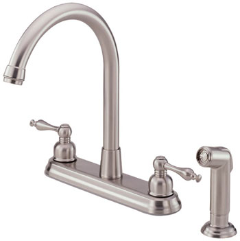 Danze D422055SS Sheridan Two Handle Hi-Rise Kitchen Faucet with Spray Stainless Steel