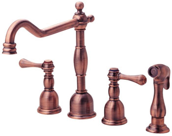 Danze D422057AC Opulence Two Handle Kitchen Faucet with Matching Spray Antique Copper