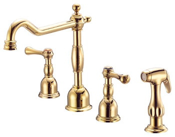 Danze D422057PBV Opulence Two Handle Kitchen Faucet with Matching Spray Polished Brass