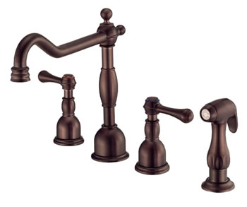 Danze D422057RB Opulence Two Handle Kitchen Faucet with Matching Spray Oil Rubbed Bronze