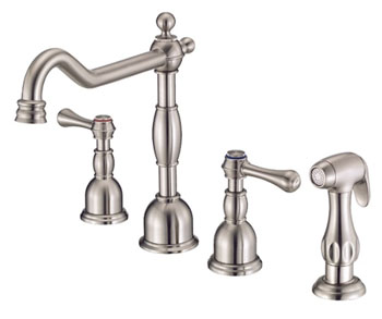 Danze D422057SS Opulence Two Handle Kitchen Faucet with Matching Spray Stainless Steel