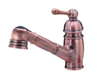 Danze D457014AC Opulence Single Handle Pull-Out Victorian Spout Kitchen Faucet - Antique Copper