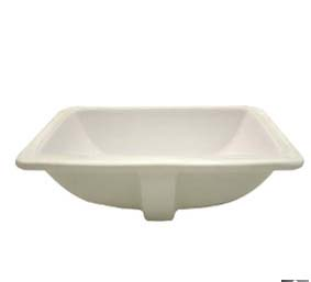 Decolav 1402-CBN Rectangular Vitreous China Undermount Sink with Overflow - Biscuit