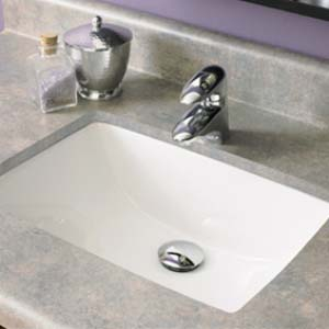 Decolav 1402-CWH Rectangular Vitreous China Undermount Sink with Overflow - White