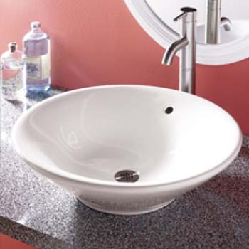 Decolav 1410-CWH Round Vitreous China Sink Vessel with Overflow - White