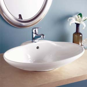 Decolav 1411-CWH Oval Vitreous China Sink Vessel with Overflow - White