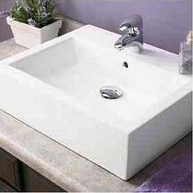 Decolav 1417-1-CWH Square Vitreous China Sink Vessel with Overflow - White