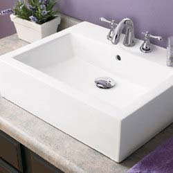 Decolav 1417-8-CWH Square Vitreous China Sink Vessel with Overflow - White
