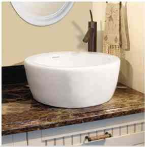 Decolav 1418-CWH Round Vitreous China Vessel with Overflow - White