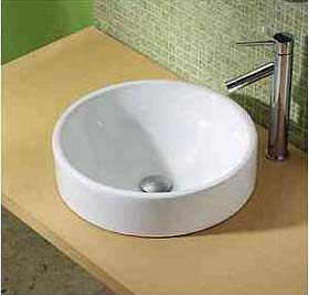 Decolav 1426 CWH Semi Recessed Round Vitreous China Sink Vessel   White