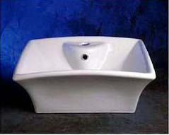 Decolav 1430-CWH Square Vitreous China Vessel with Overflow - Ceramic White