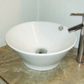 Decolav 1435 CWH Round Vitreous China Vessel Sink With Overflow   White