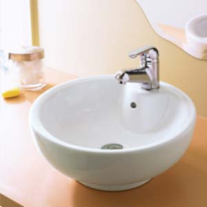 Decikav 1451-CWH Round Vitreous China Vessel Sink - White