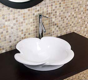 Decolav 1461-CWH Petal Shaped Vitreous China Vessel - Ceramic White