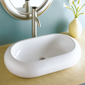 Decolav 1485-CWH Oval Vitreous China Vessel Sink - White