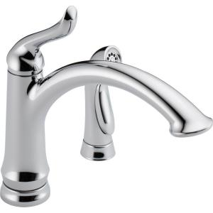 Delta 4453-DST Linden DST Single Handle Kitchen Faucet with Spray - Chrome