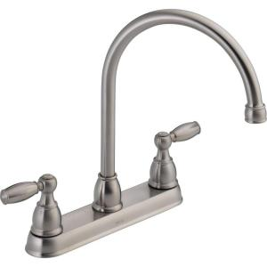 Delta 2 Handle Kitchen Faucets delta 21987lf-ss foundations 2-handle kitchen faucet - stainless