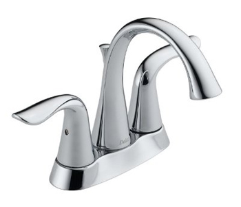 Delta 2538-TP-DST Lahara 4 in. Centerset 2-Handle High Arc Bathroom Faucet with Pop-Up - Chrome