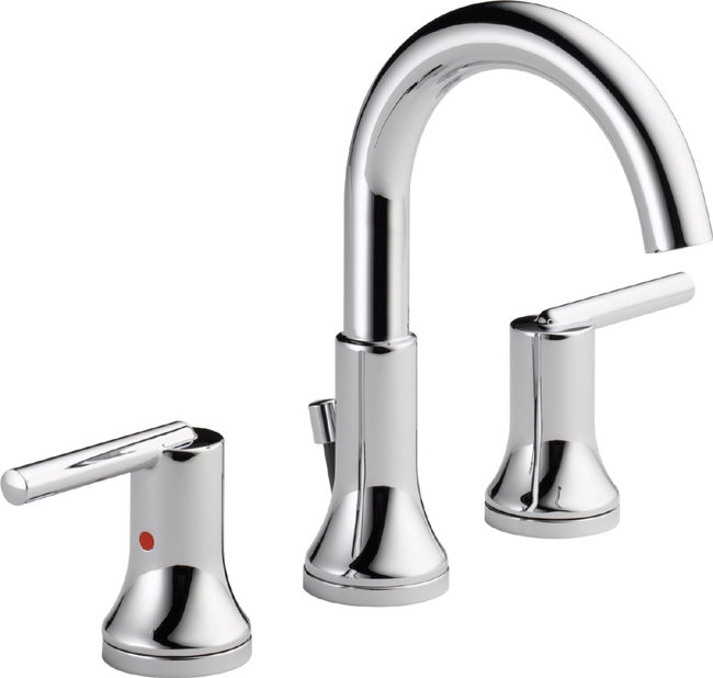 Delta 3559 mpu dst trinsic 8 in widespread 2 handle high arc bathroom faucet chrome for Delta widespread bathroom faucet