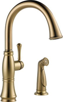 Delta 4297-CZ-DST Cassidy Single Handle Kitchen Faucet with Spray - Champagne Bronze