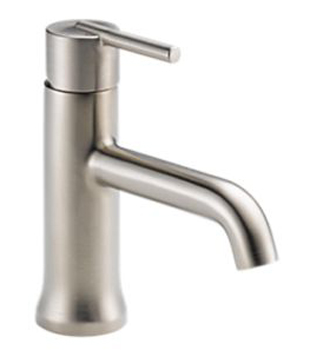 Delta 559LF-SSTP Trinsic Single Hole 1-Handle Mid Arc Bathroom Faucet with Pop-Up - Stainless Steel