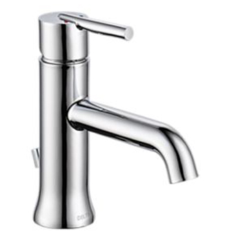 Delta 559LF-TP Trinsic Single Hole 1-Handle Mid Arc Bathroom Faucet with Pop-Up - Chrome