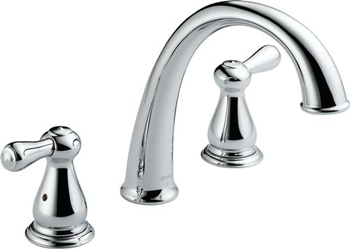 Delta T2775 Leland J-Spout Roman Tub Faucet Trim - Chrome