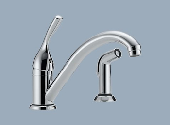 Delta 175-DST Classic Single Handle Kitchen Faucet with Sidespray and Diamond(TM) Seal Technology Chrome