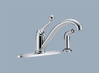 Delta 400-BH-DST Classic Single Handle Kitchen Faucet with Sidespray and Diamond(TM) Seal Technology Chrome
