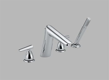 Delta T4782 Rizu Two Handle Roman Tub Faucet Trim with Handshower Chrome