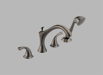 Delta T4792-PT Addison Two Handle Roman Tub Faucet Trim with Handshower Aged Pewter