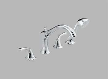 Delta T4792 Addison Two Handle Roman Tub Faucet Trim with Handshower Chrome