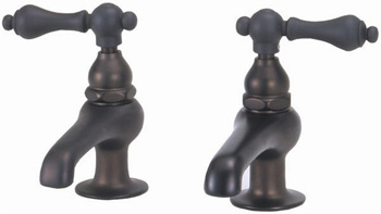 Elizabethan Classics BF01-CP Basin Faucet Pair with Metal Lever Handles Chrome (Pictured in Oil Rubbed Bronze)