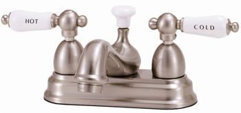 Elizabethan Classics CS03-ORB Centerset Lavatory Faucet With Porcelain Lever Handles - Oil Rubbed Bronze (Pictured in Satin Nickel)