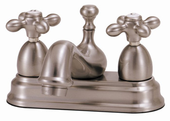 Elizabethan Classics CS04-CP Centerset Lavatory Faucet With Metal Cross Handles Chrome (Pictured in Satin Nickel)