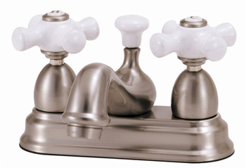 Elizabethan Classics CS05-PB Centerset Lavatory Faucet With Porcelain Cross Handles - Polished Brass (Pictured in Satin Nickel)