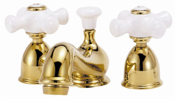 Elizabethan Classics MW05-SN Mini-Widespread Lavatory Faucets With Porcelain Cross Handles - Satin Nickel (Pictured in Polished Brass)