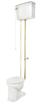 Elizabethan Classics ETPCTR-SN English Turn Porcelain Round Front Pull-Chain Toilet Satin Nickel (Pictured with Polished Brass Pipes)