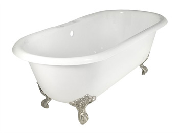 Elizabethan Classics DITAP-WH Cast Iron Dual Tub with Rim Holes - White/White (Pictured with Satin Nickel Imperial Feet)