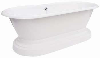 Elizabethan Classics DUPLTAP Cast Iron Dual Tub on Plinth with Rim Holes - White