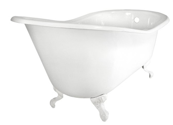 Elizabethan Classics SB-CP Cast Iron Slipper Tub less Holes - White/Chrome (Pictured with White Ball & Claw Feet)