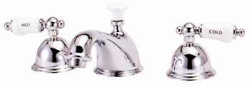 Elizabethan Classics WS07-PB Lavatory Widespread Faucet With Porcelain Lever Handles - Polished Brass (Pictured in Chrome)