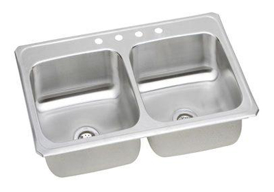 Elkay CR4322 Gourmet Celebrity Double Basin Top Mount Kitchen Sink - Stainless Steel