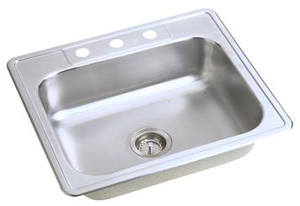 Elkay D12521-3 Dayton Single Bowl Topmount Kitchen Sink - Stainless Steel